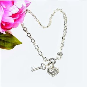 Silver Heart Lock & Key Crystal Bling Necklace 18""
